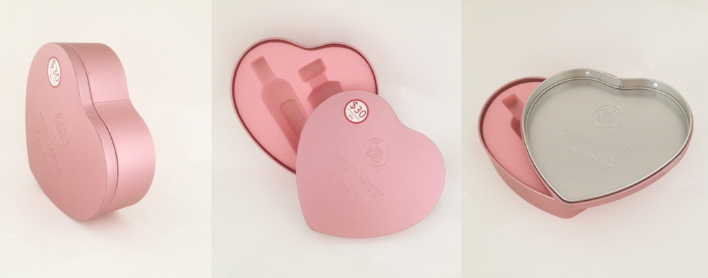 cosmetic heart tin box