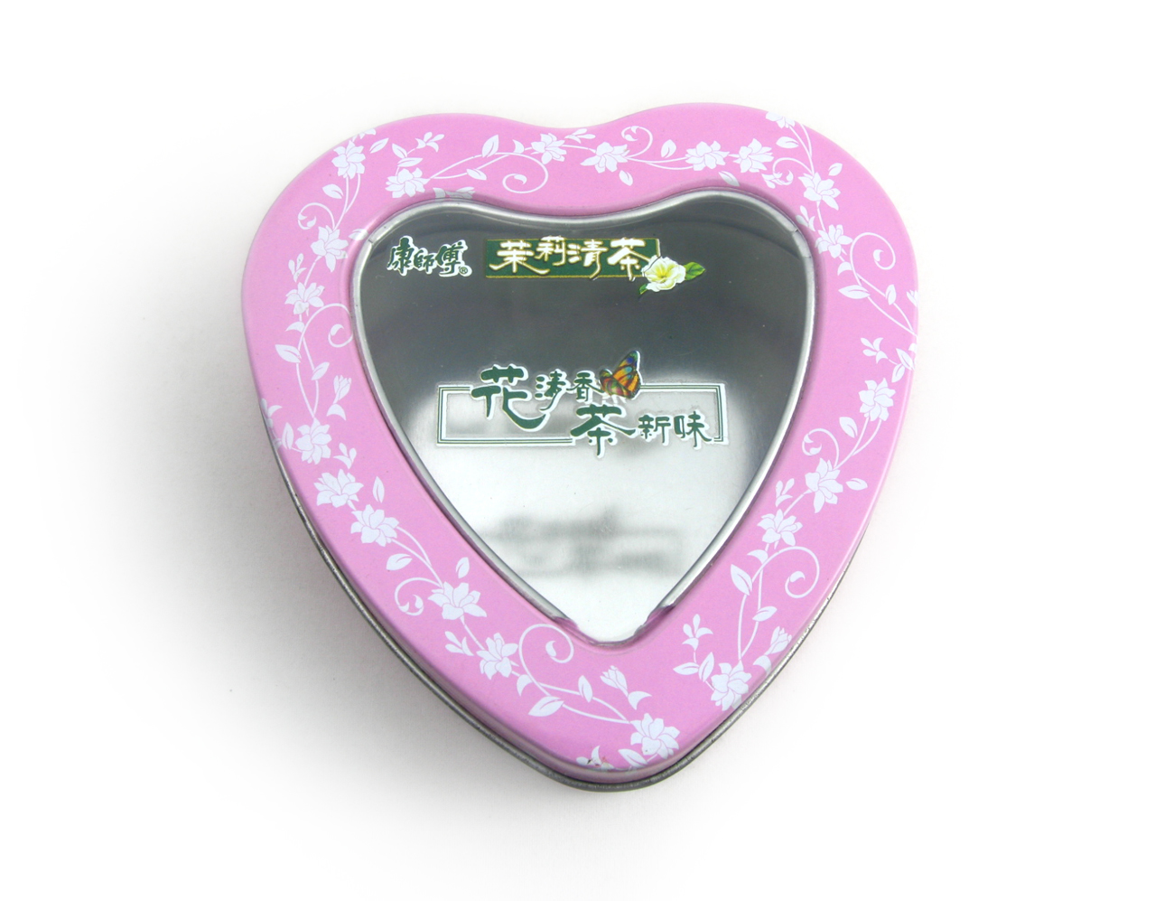 gift heart tin with window