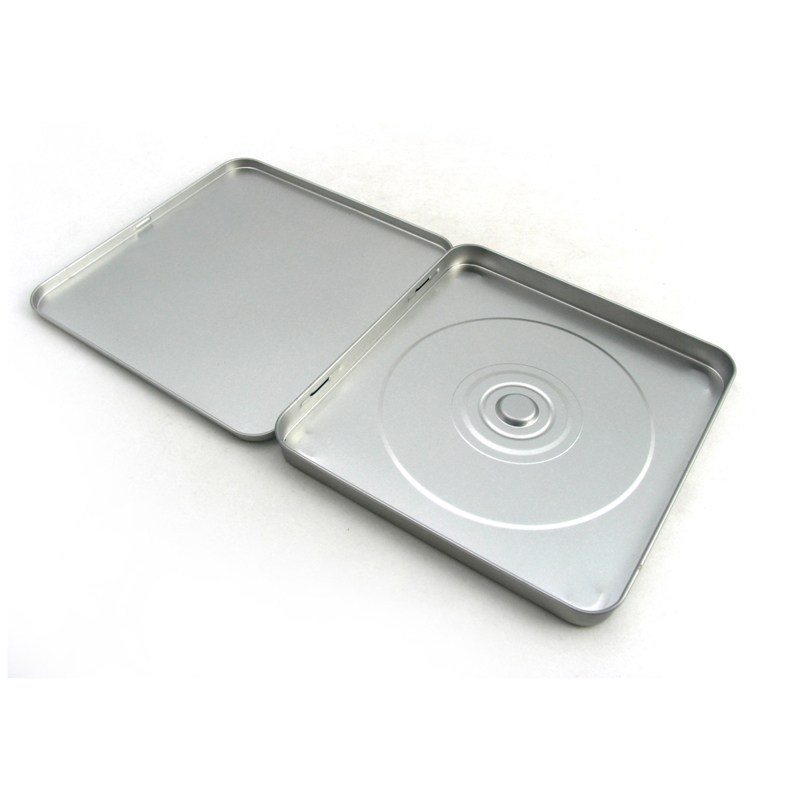 silver plain CD tin box
