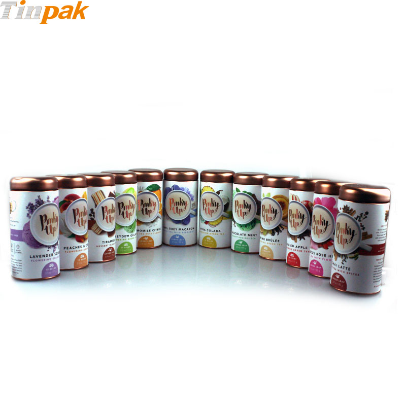 tea tin cans with sticker