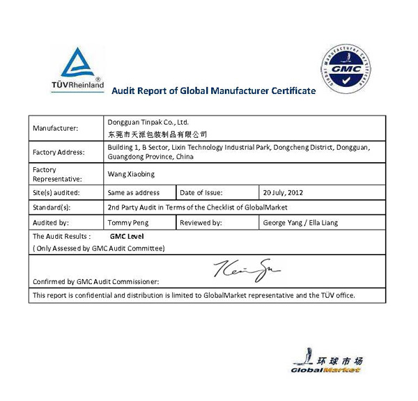GMC certifate by TUV for Tinpak Tin box factory