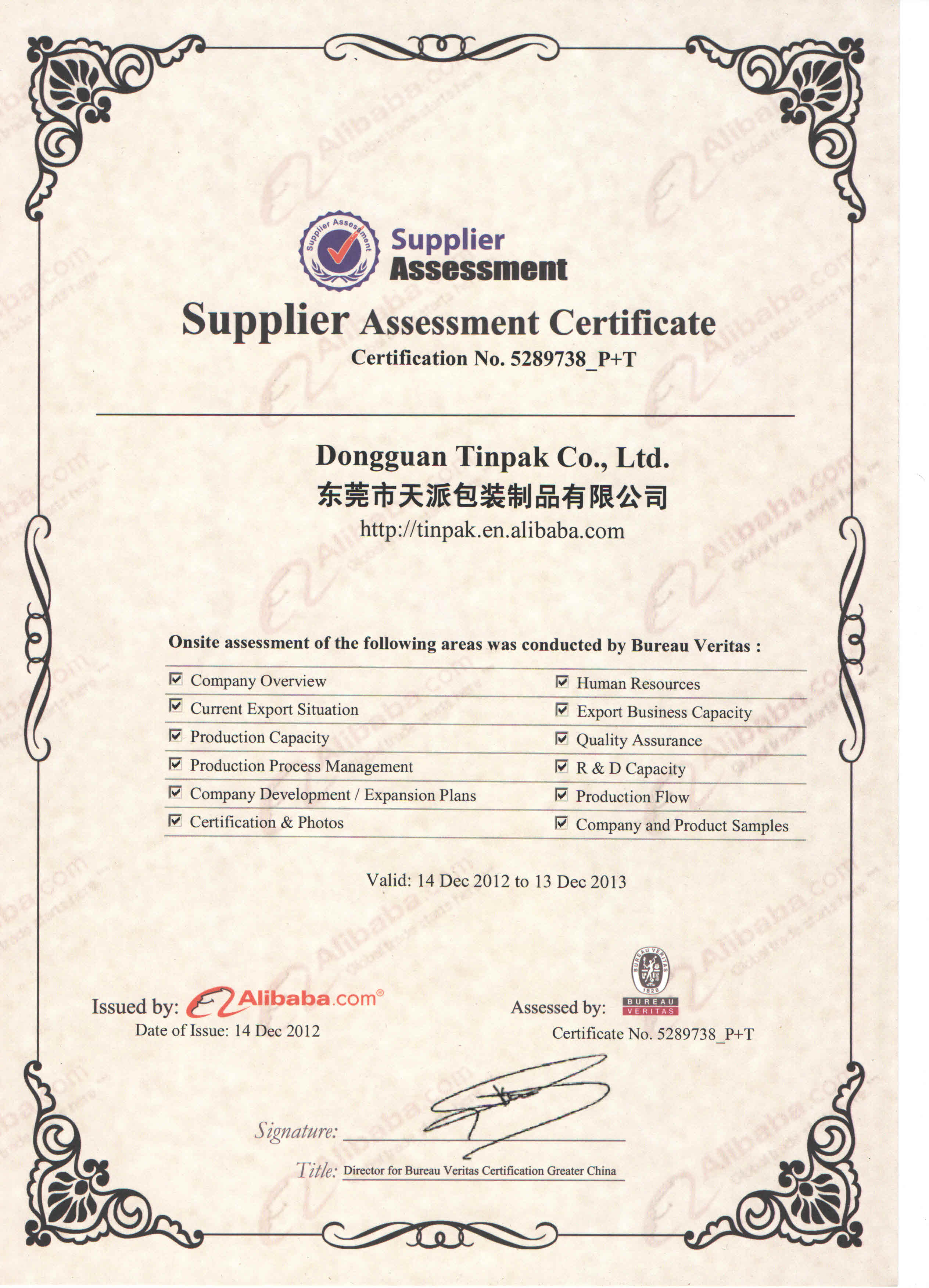 BV issued Supplier Assessment