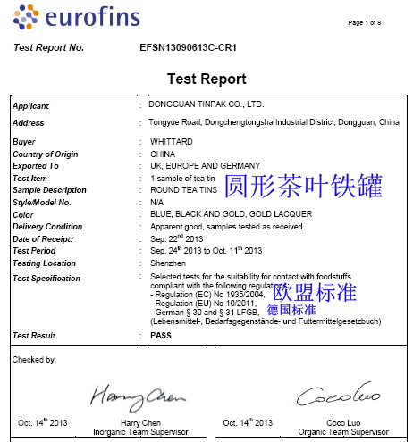 Eurofins test report for Tea tin