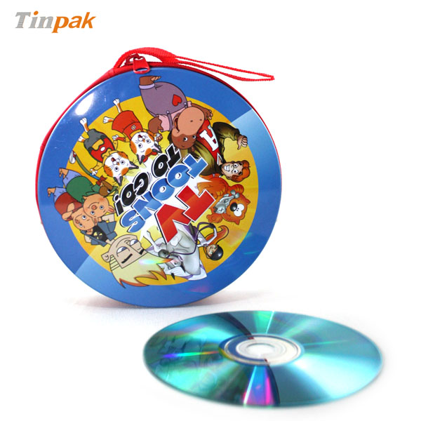 embossed round CD tin case with a zipper