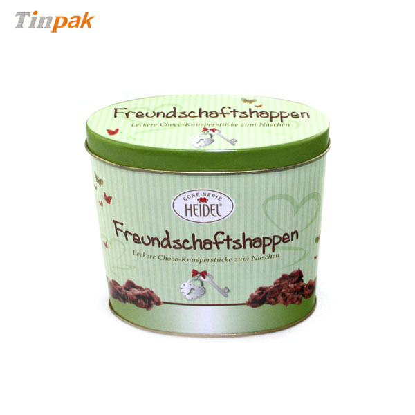 premium oval chocolate tin containers