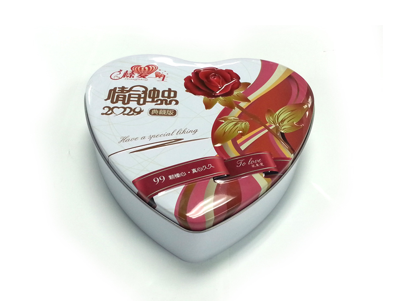 Heart shaped hazelnut tin box