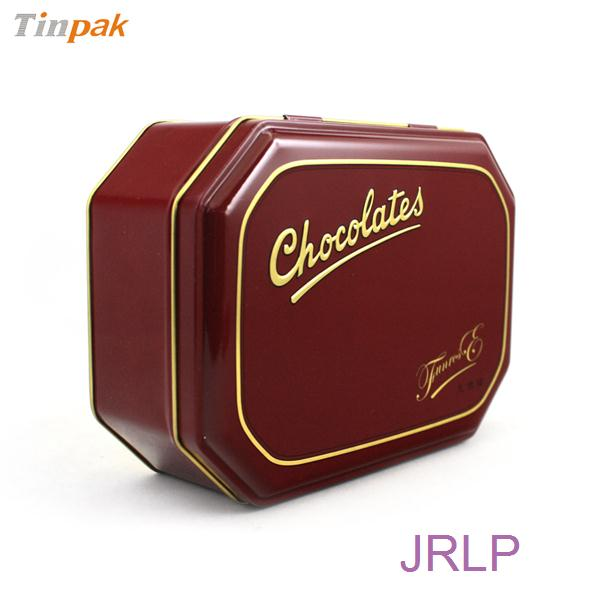octagonal chocolate tin box