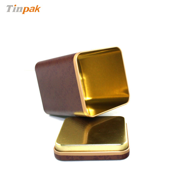 Square plug lid tea tin box
