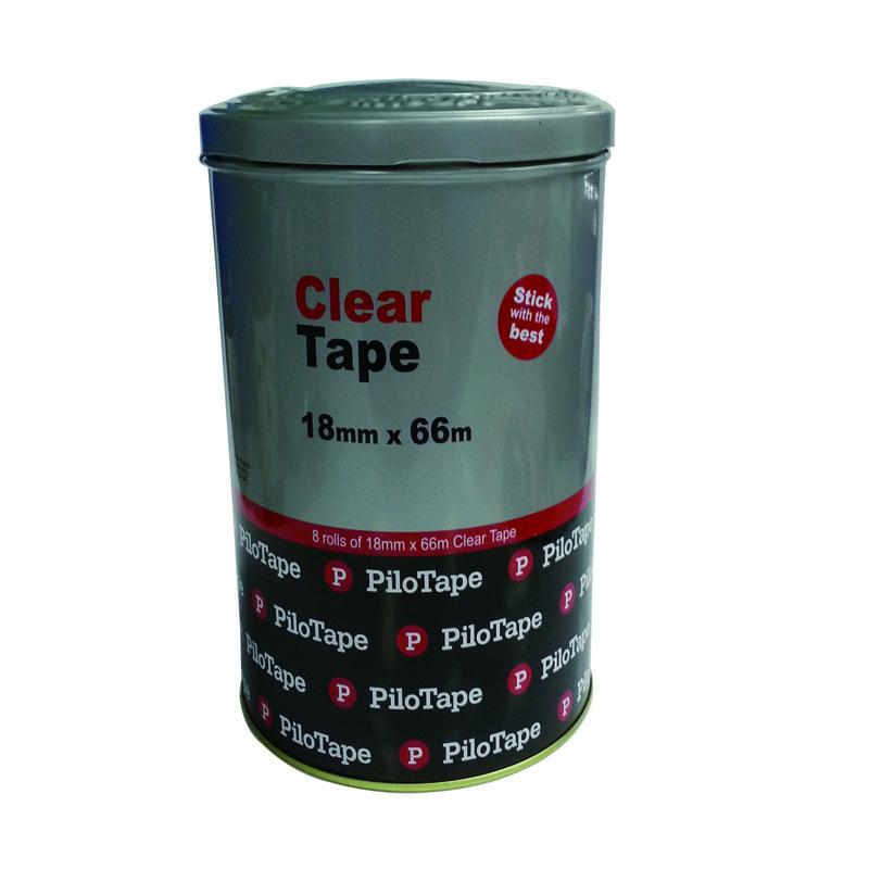 round clear tape tin box