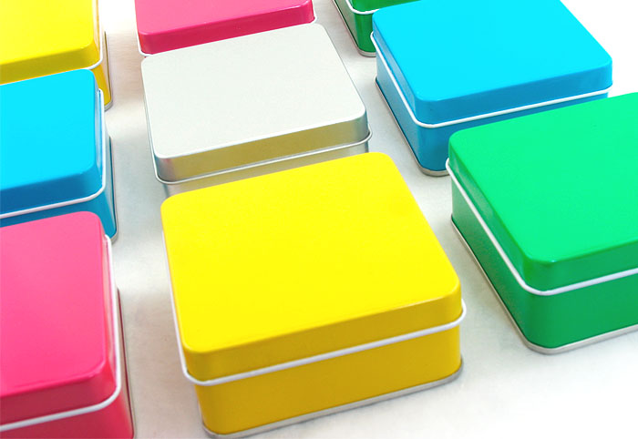 colorful square candy tin box