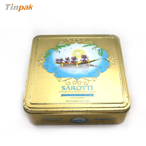 square Sarotti chocolate tin box