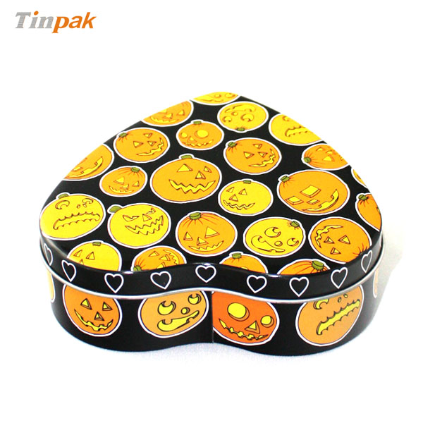 pumpkin printed heart tin box
