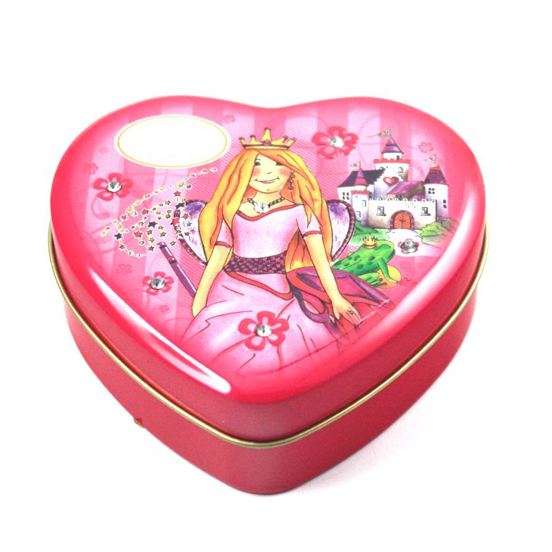 heart tin box with diamonds inserted