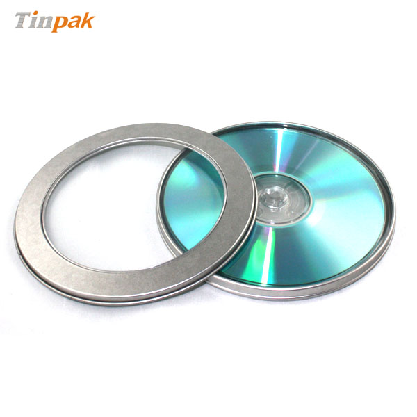 round metal CD case with clear window