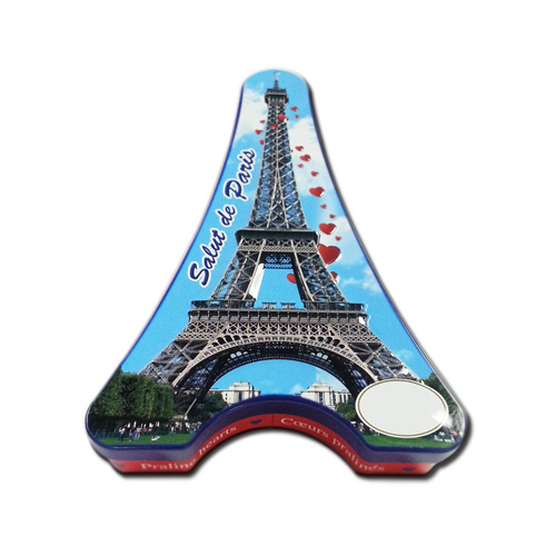 3D embossed Eiffel tower tin box with tray