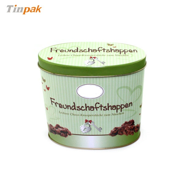 oval tin container for chocolate