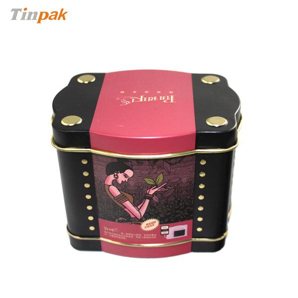 custom shaped tea tin container