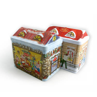 Christmas house biscuit tin box