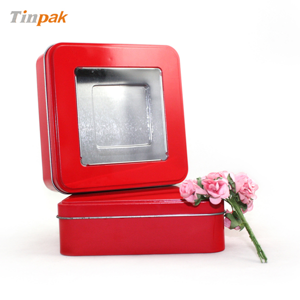 square window tin containers