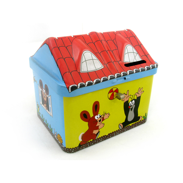 sweet house shaped tin box