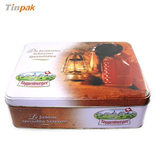 large metal biscuit tin container