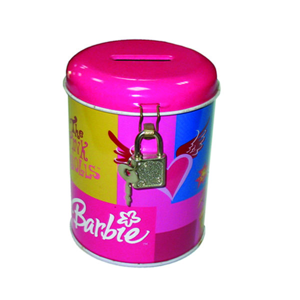 round coin bank tin box with lock