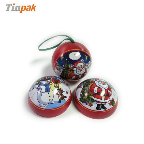 decorative Xmas bauble tin with ribbon