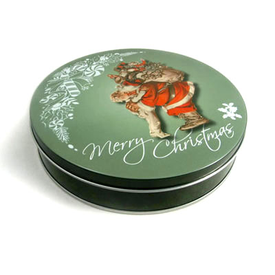 Xmas cookie tin box for promotion