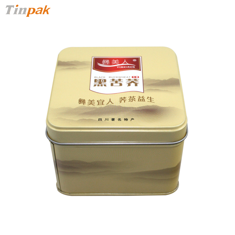premium square metal tea tin container