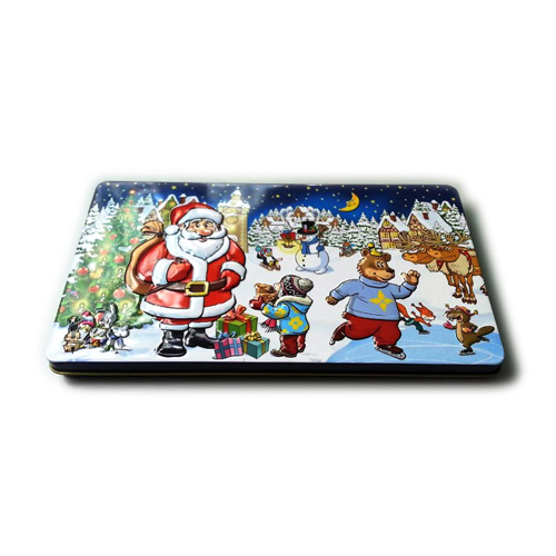 3D embossed Xmas tin box for chocolate