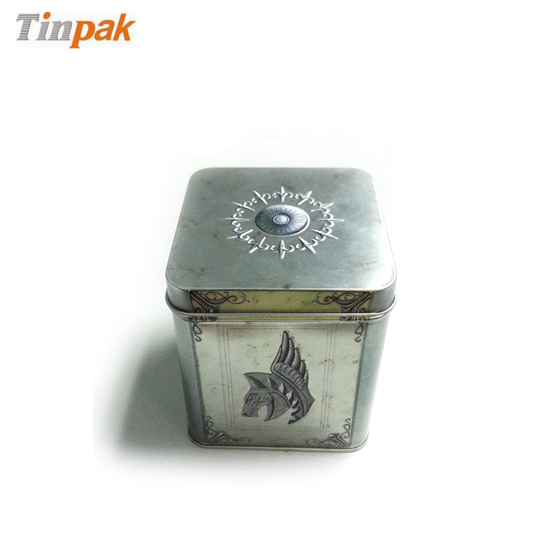 square T-shirt tin box with custom embossing