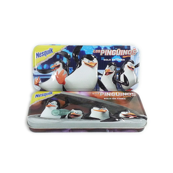 rectangular 3D embossed pen tin box with hinged lid