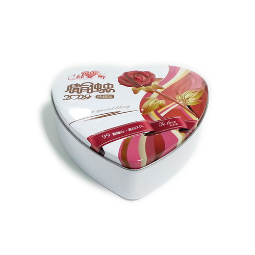 3D embossed heart shaped tin box for nuts