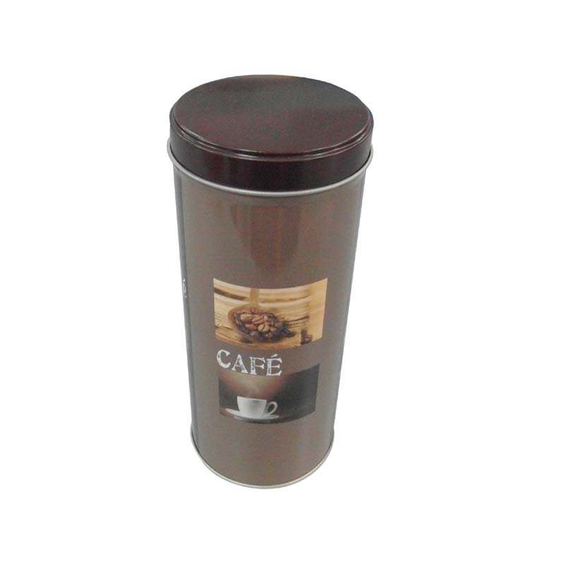 tall round coffee tin container