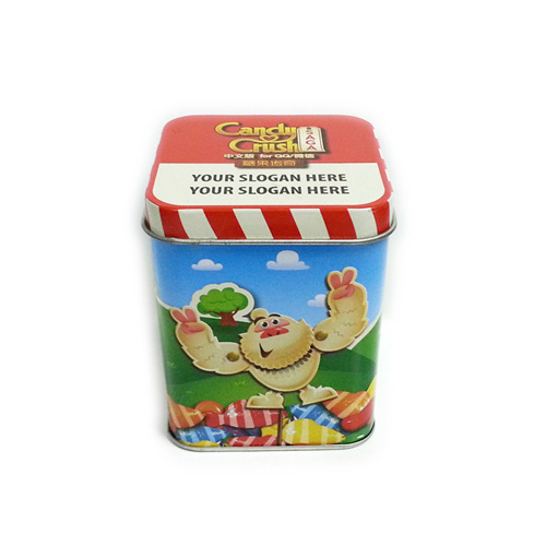 custom printed metal square candy tin container