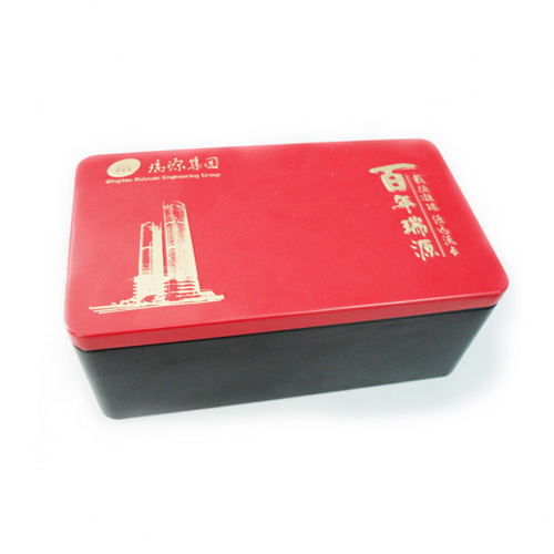 rectangular metal cookie tin container with plug lid