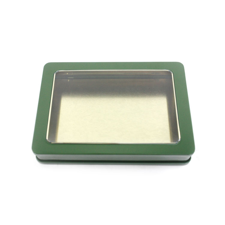 rectangular window tin box for chocolate