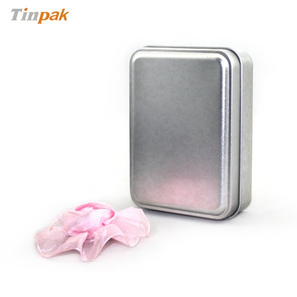 small silver plain rectangular soap tin case