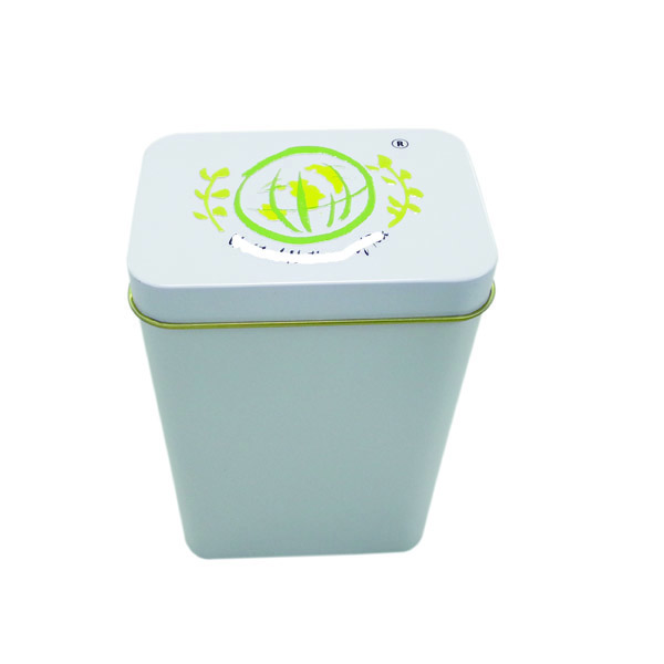 small rectangular shaped metal tea tin box