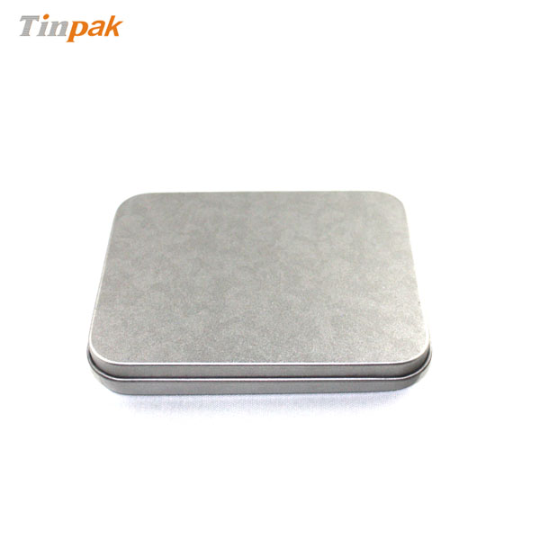 rectangular silver plain business card tin case