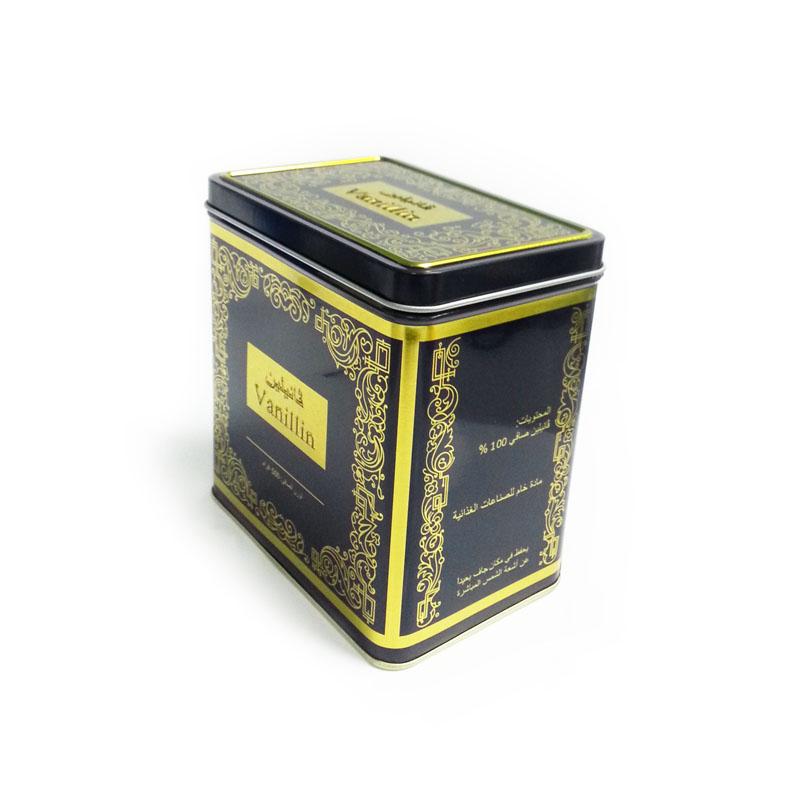 small rectangular food metal tin box with hinged lid