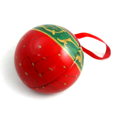 ball shape tin box for Christmas