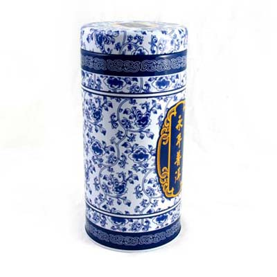 Chinese style round tea tin container