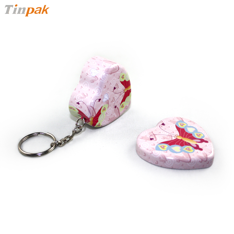 heart pocket tin with key ring