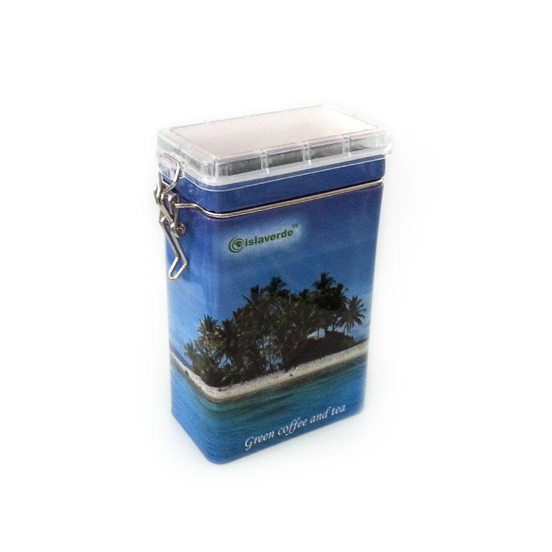 custom printed coffee tin box with clear airtight lid