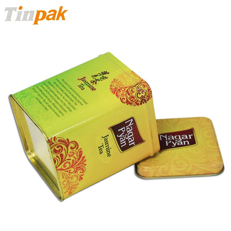 fancy square tea tin box