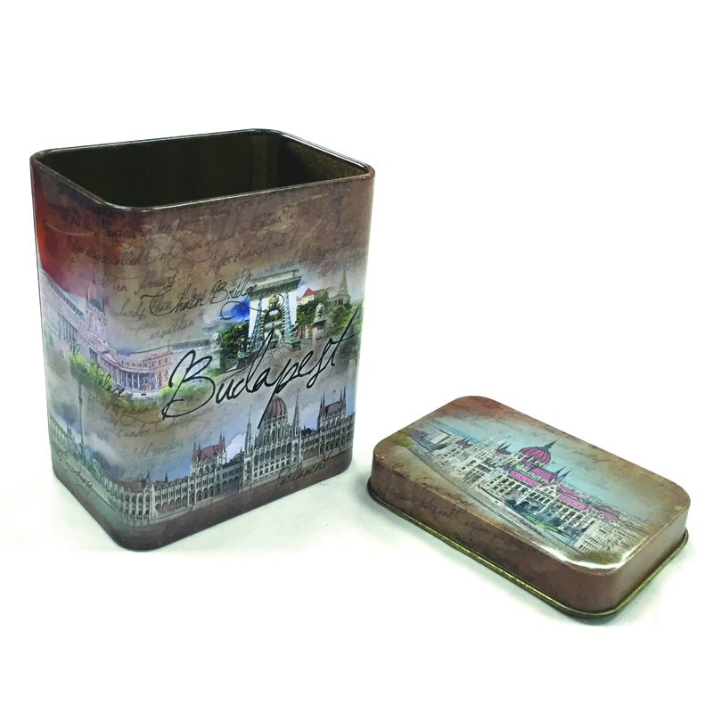 Small square vantage candy tin