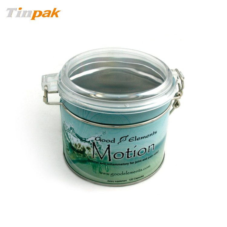 Custom printing round tea tin with plastic lid