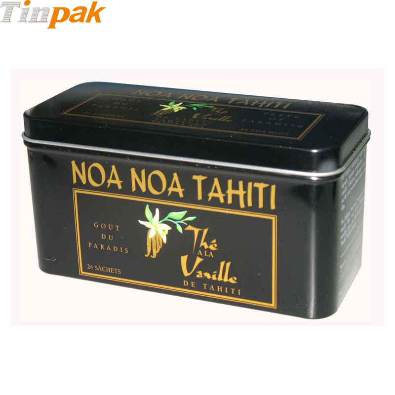 Premium custom printed rectangular tea tin