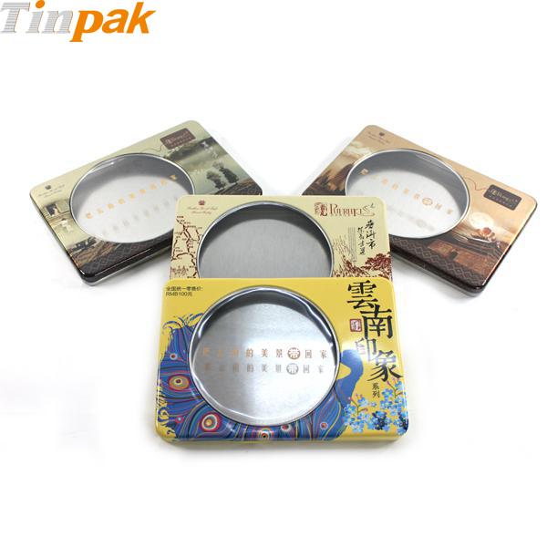 Custom printed window tea tin box